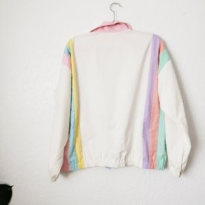 Vintage Jackets & Coats - 80-90sVintage Pastel Rainbow Striped Track Jacket